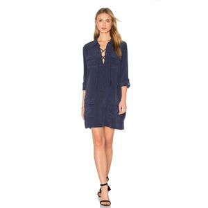Equipment | Knox Long Sleeve Lace Up Dress Peacoat